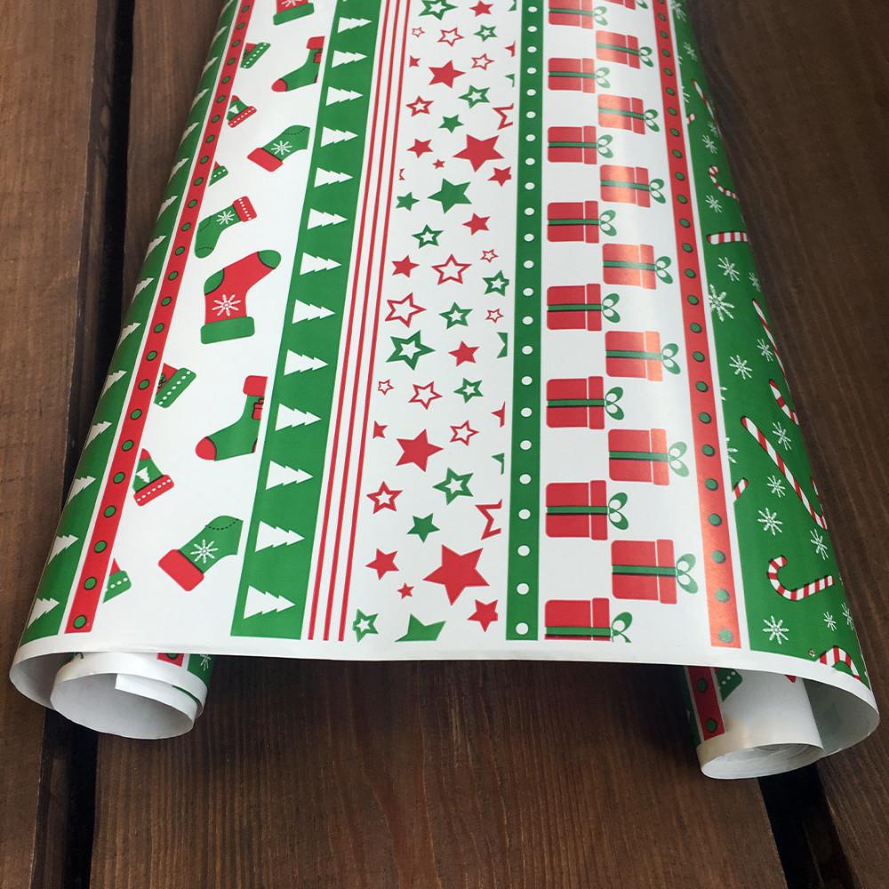 """Подарунковий папір крейдований, з принтом """"Новий рік"""", 0.68 x 5 метрів. 70 г/м2. LOVE & home біла"""