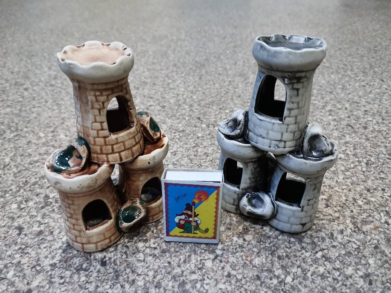 С502 Керамическая декорация для аквариума Башня тройная