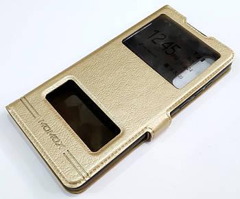 Чехол книжка с окошками momax для Huawei P30 золотой
