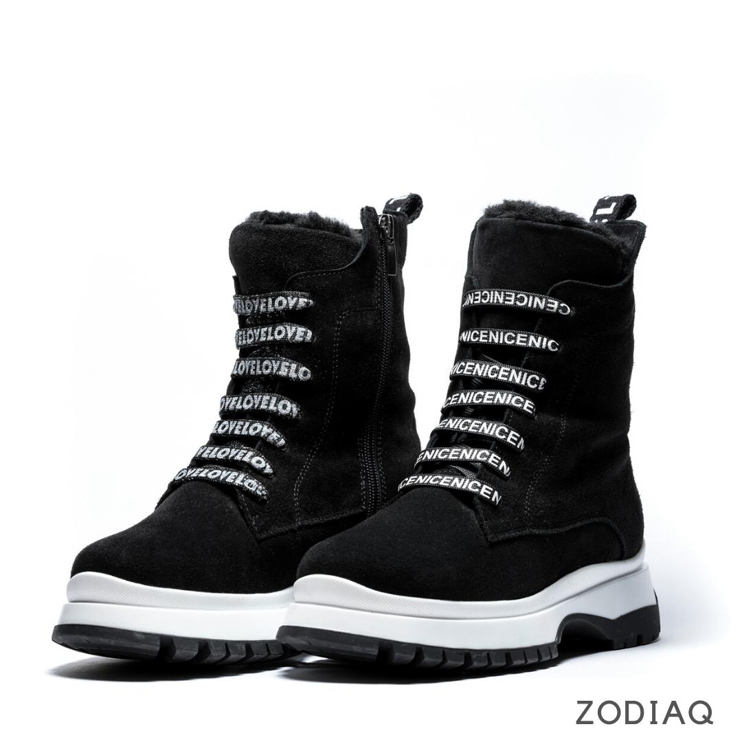 Ботинки женские зимние замшевые на шнурках b 8977-11s 36 -23.5см