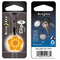 Карабин светодиодный Nite Ize ClipLit Designs цветок оранжевый/белый NI743