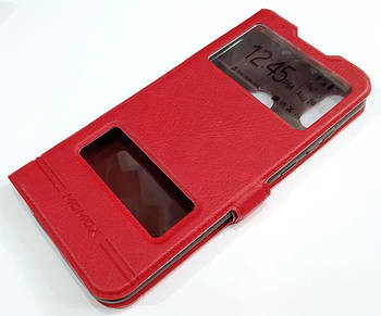 Чехол книжка с окошками momax для Honor 8A (Honor 8A Pro, Honor Play 8A) Красный