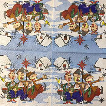 """Салфетка декупажная 33x33 см 28.2 """"Колядки Рождество"""" Серветка для декупажу Новорічна"""