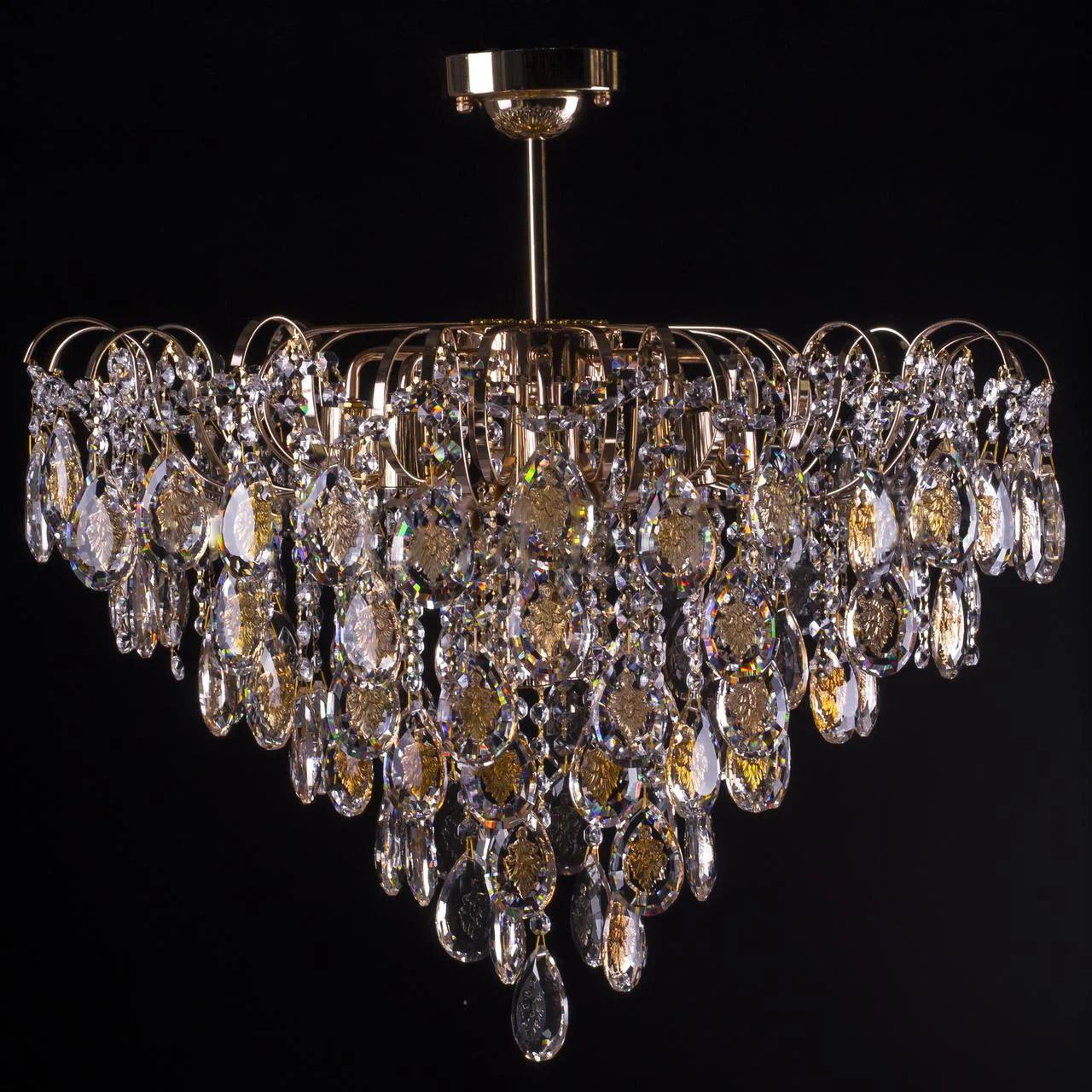 Кришталева люстра класична на 10 лампочок Прометей P5-E1269/10/FG