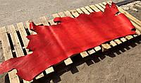 Юфть шорно-седельная ременная натуральная кожа в полукожах Красный, 2,5 мм.