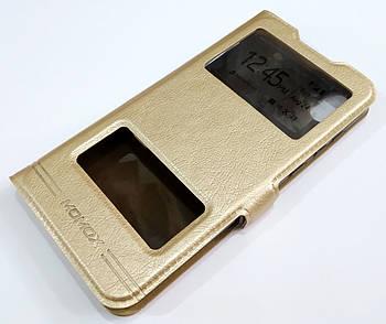 Чехол книжка с окошками momax для Huawei Y5 2019 золотой