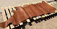 Юфть шорно-седельная ременная натуральная кожа в полукожах, Коньячный, 2,5 мм.