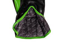 Боксерские перчатки PowerPlay 3018 Черно-Зеленые 8 унций, фото 2