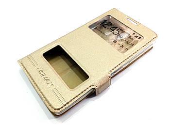 Чехол книжка с окошками momax для Lenovo A2010 золотой