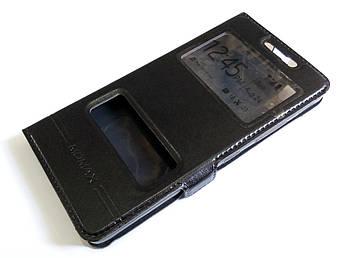 Чехол книжка с окошками для Lenovo K3, A6000, A6010, A6010 Pro (Plus) черный