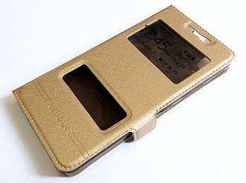 Чехол книжка с окошками для Lenovo K3, A6000, A6010, A6010 Pro (Plus) золотой