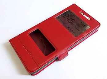 Чехол книжка с окошками для Lenovo K3, A6000, A6010, A6010 Pro (Plus) красный