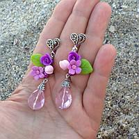 Нежные цветочные серьги из полимерной глины с кристаллами, фото 1