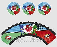 Набор для капкейков: топперы и накладки на корзинки (6шт/уп)- Герои в масках, Украшение для стола, Красный, Синий, Зеленый