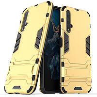 Чехол Hybrid case для Huawei Nova 5T бампер с подставкой золотой