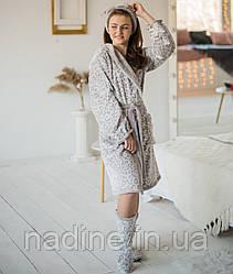 Халат подростковый Eirena Nadine (455-64) рост 158-164 бежевый + сапожки