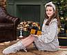 Халат подростковый Eirena Nadine (455-64) рост 158-164 бежевый + сапожки, фото 8