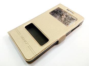 Чехол книжка с окошками momax для Lenovo P780 золотой