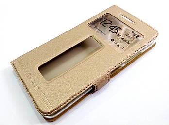 Чехол книжка с окошками momax для Lenovo S60 золотой
