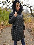 Женская зимняя удлиненная куртка с мехом, фото 2