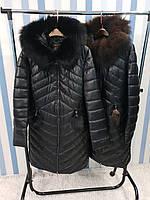 Женская зимняя удлиненная куртка с мехом, фото 1