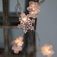 Гирлянда LED акриловая Снежинки теплый свет 10 светодиодов 1,1 м. 40803