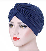 Шикарная чалма шапка тюрбан синяя украшена бусинами