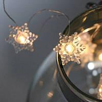 Гирлянда LED акриловая Снежинки теплый свет 20 светодиодов 2 м. 40813
