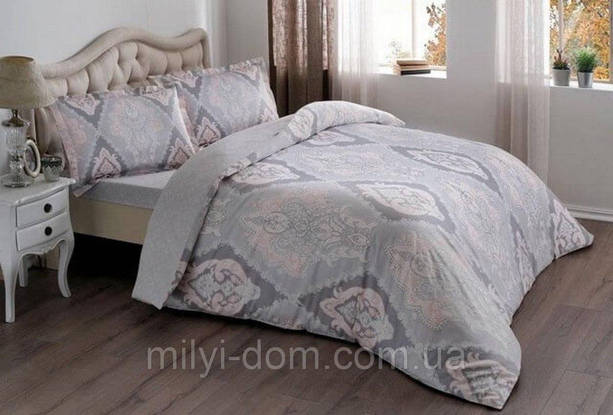 Полуторное постельное белье TAC Vales Pink Сатин, простынь на резинке