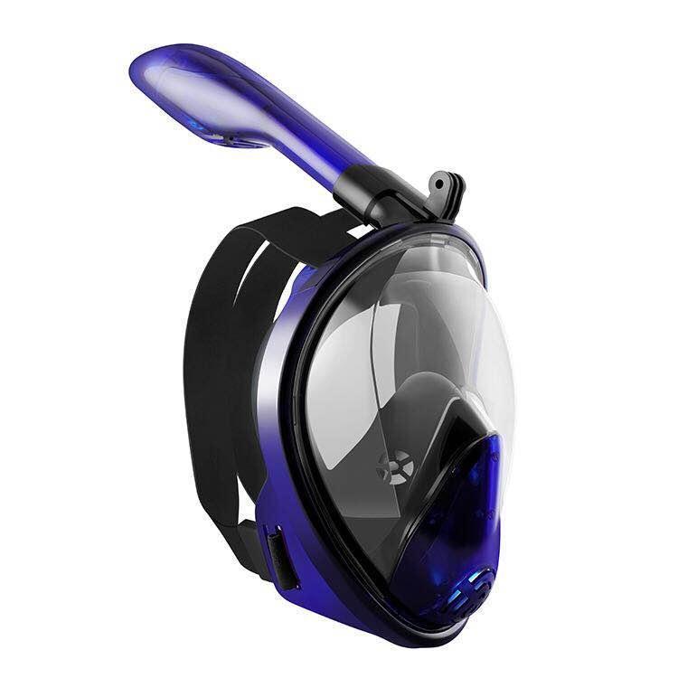Маска для снорклинга Aolais полнолицевая с креплением для камеры Черно-фиолетовая