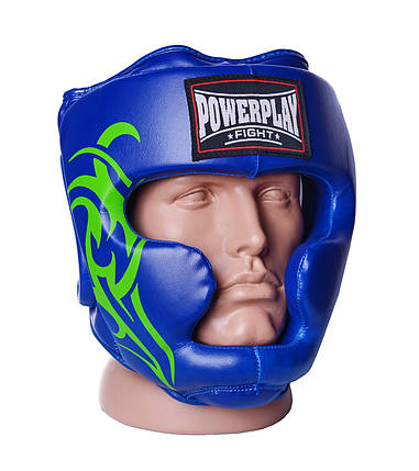 Боксерський шолом тренувальний PowerPlay 3043 Синій XL, фото 2