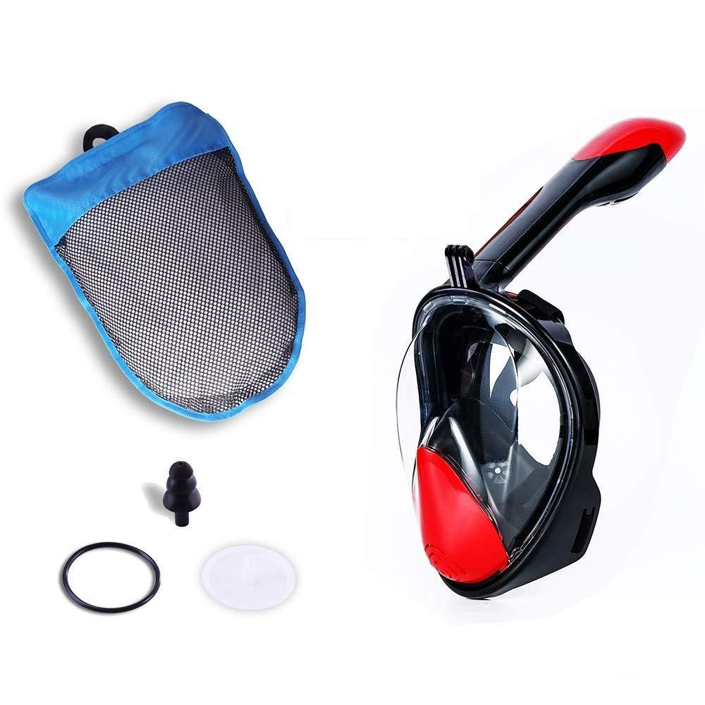 Полнолицевая маска для плавания, для снорклинга Aolais L/XL черно-красная