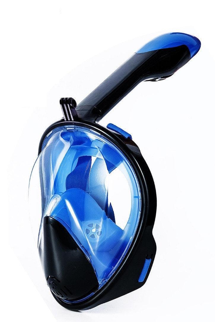 Полнолицевая маска для плавания, для снорклинга Aolais L/XL черно-синяя