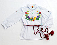 Детская белая хлопковая вышиванка для девочки Тюльпан Piccolo L