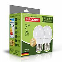 """Мультипак """"1+1"""" LED Лампа Eurolamp ECO G45 7W E27 4000K"""