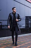 """Куртка-пальто мужское зимнее кожаное """"Монополия"""" без капюшона черное"""