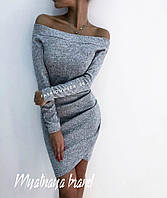 Женское платье ангора софт бутылка темно-синее бордо марсала меланж 42-44 44-46