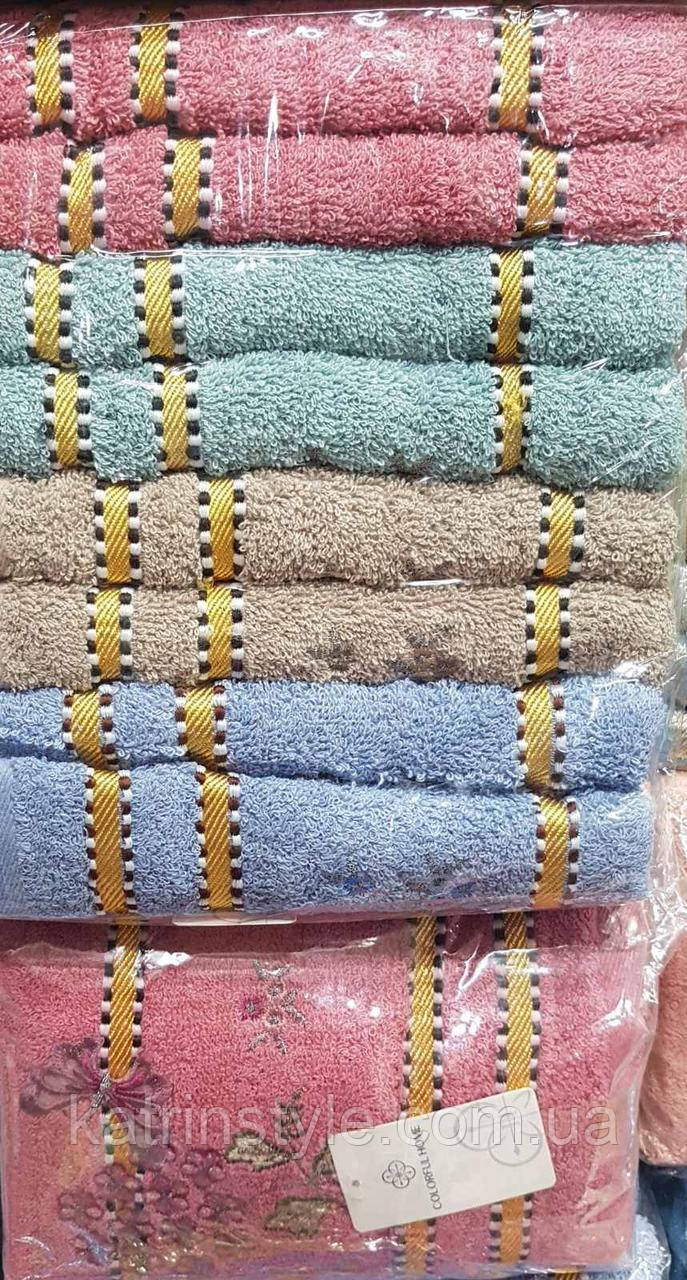 Махровые лицевые полотенца «Бабочка с цветком» (8шт)