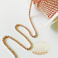 Стразовая цепочка, цвет Crystal, ss6 (2mm), металл Розовое золото, 1м