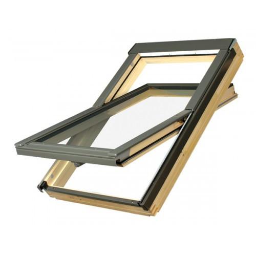 """Дахове вікно Fakro FTZ з завісами посередині висоти вікна і ручкою відкривання типу """"Стандарт"""""""