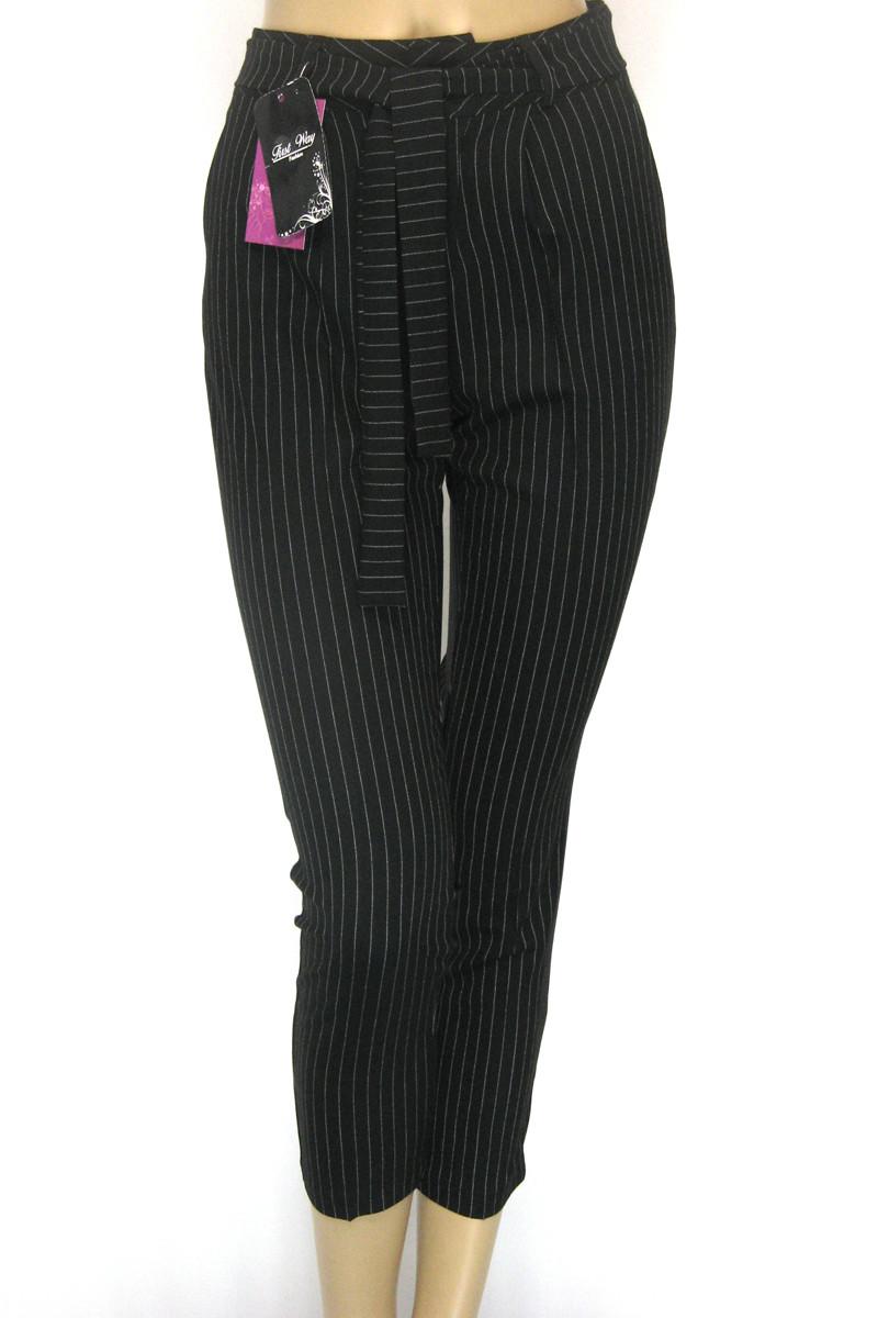 Жіночі чорні брюки в полоску весна-літо