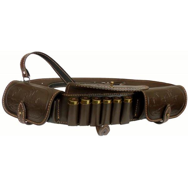 Патронташ Медан 2007 кожаный однорядный с тиснением 12к.*18 патронов