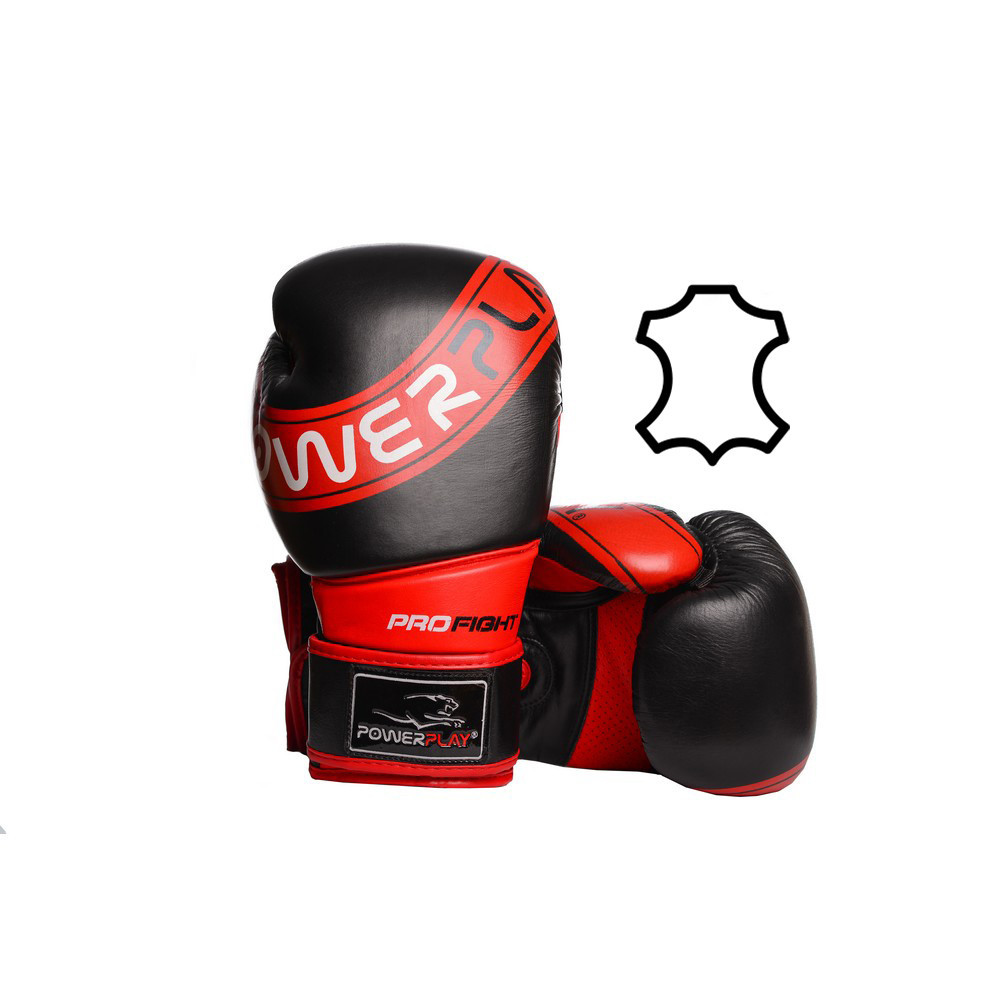 Боксерские перчатки PowerPlay 3023 A Черно-Красные [натуральная кожа] 10 унций