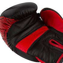 Боксерские перчатки PowerPlay 3023 A Черно-Красные [натуральная кожа] 10 унций, фото 2