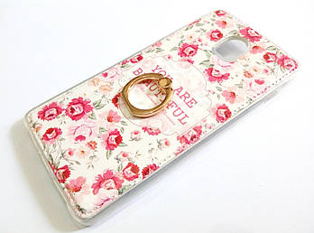Чехол с кольцом для Lenovo Vibe P1 силиконовый с рисунком цветы маленькие розы белый