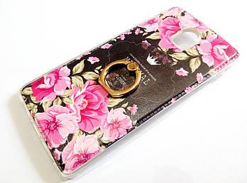 Чехол с кольцом для Lenovo Vibe P1 силиконовый с рисунком цветы розы темный