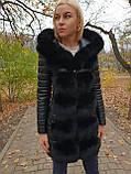 Жіноча зимова подовжена куртка з хутром, фото 2
