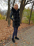 Жіноча зимова подовжена куртка з хутром, фото 4