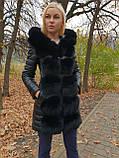 Женская зимняя удлиненная куртка с мехом, фото 6