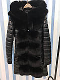 Женская зимняя удлиненная куртка с мехом, фото 5
